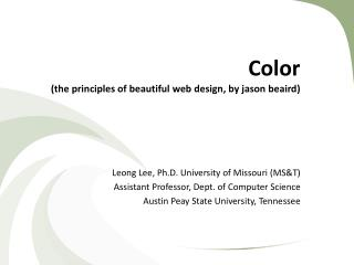 Color (the principles of beautiful web design, by  jason beaird )