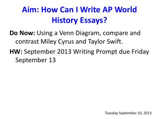 Aim: How Can I Write AP World History Essays?
