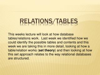 Relations/Tables
