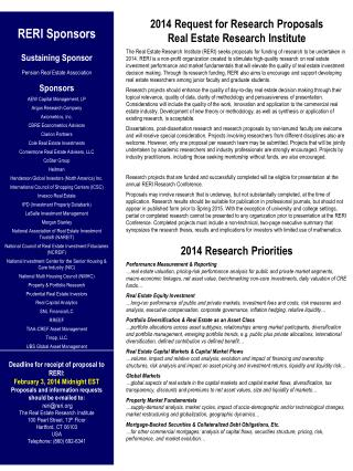 2014  Request for Research Proposals Real Estate Research Institute