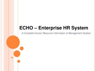 ECHO – Enterprise HR System