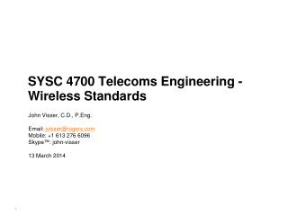 SYSC 4700 Telecoms Engineering - Wireless Standards