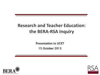 Presentation to UCET 15 October 2013