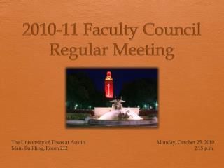 2010-11 Faculty Council Regular Meeting
