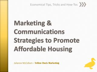 Marketing & Communications  Strategies to Promote Affordable Housing