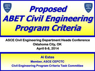 Proposed ABET Civil Engineering  Program Criteria
