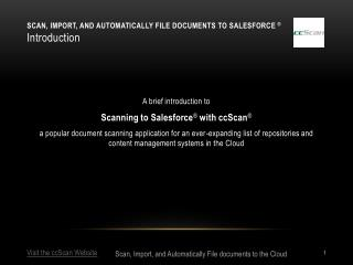 Scan, Import, and Automatically file documents to Salesforce  ® Introduction