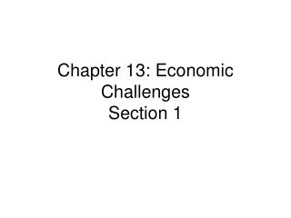 Chapter 13: Economic Challenges Section 1