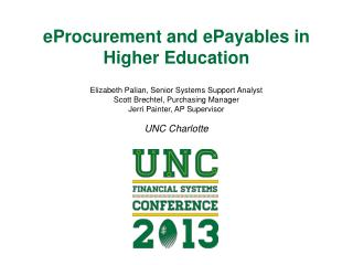 eProcurement and  ePayables  in  Higher Education