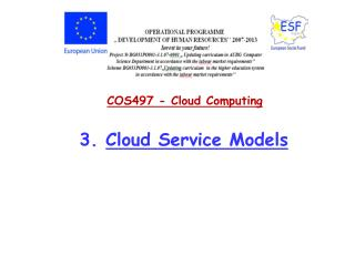 COS497 - Cloud  Computing 3.  Cloud Service Models