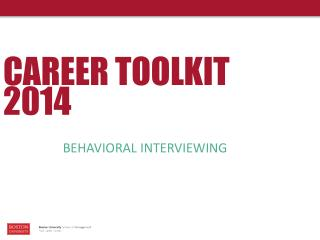 CAREER TOOLKIT 2014