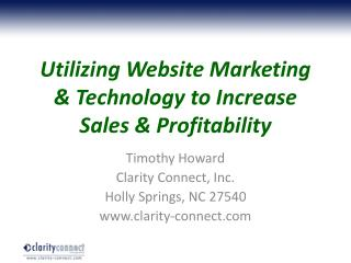 Utilizing Website Marketing & Technology to Increase Sales & Profitability