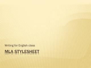 MLA  Stylesheet