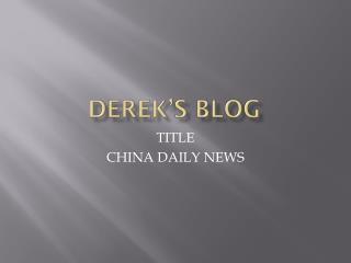 Derek'S  blog