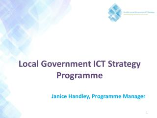 Local Government ICT Strategy Programme Janice Handley, Programme Manager
