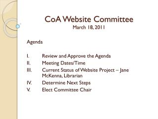 CoA  Website Committee March 18, 2011