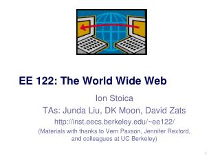 EE 122: The World Wide Web