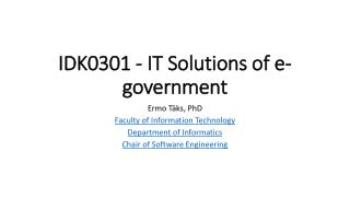 IDK0301 - IT Solutions of e-government