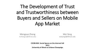 The  Development  of Trust and Trustworthiness between Buyers and Sellers on Mobile App Market
