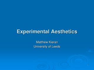 Experimental Aesthetics