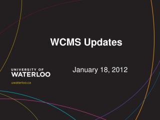 WCMS Updates