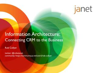 Information Architecture:  Connecting CRM to the Business