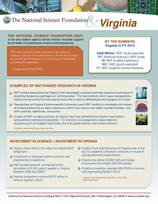 BY THE NUMBERS Virginia in FY 2012 $286 Million : NSF funds awarded 6 th : National ranking in NSF funds 70 : NSF-funde