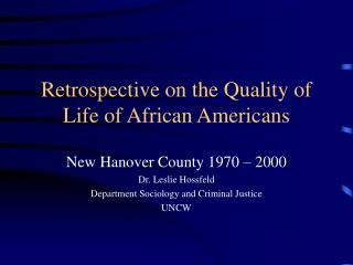 African American Quality of Life of New Hanover County
