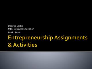 Entrepreneurship Assignments & Activities
