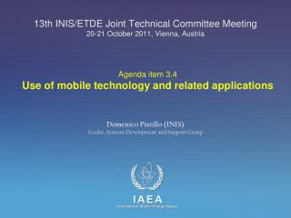 13th INIS/ETDE Joint Technical Committee Meeting 20-21 October 2011, Vienna, Austria