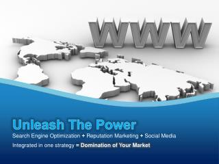 Unleash The Power Search Engine Optimization  +  Reputation Marketing  + Social Media Integrated in one strategy  = Dom