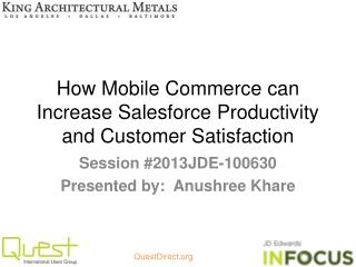 How Mobile Commerce can Increase Salesforce Productivity and Customer Satisfaction
