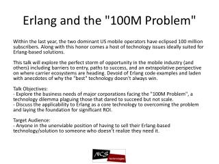"Erlang  and the ""100M Problem"""