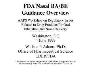 FDA Nasal BABE Guidance Overview