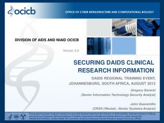 DAIDS Regional Training Event,  Johannesburg, South Africa, August 2012