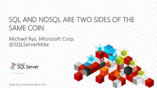 SQL and  NoSQL  Are Two Sides Of The Same Coin