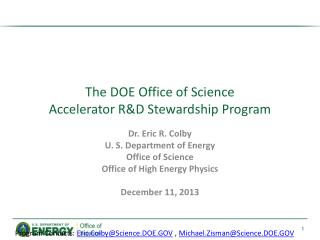 The DOE Office of Science  Accelerator R&D Stewardship Program
