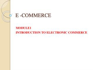 E -COMMERCE