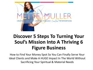 Discover 5 Steps To  Turning Your Soul's  Mission  Into  A  Thriving  6  Figure  Business