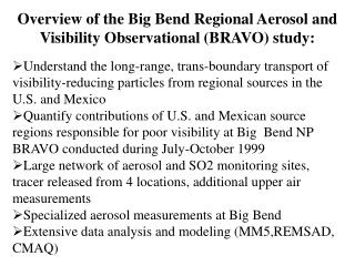 Overview of the Big Bend Regional Aerosol and Visibility ...