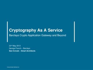 Cryptography As A Service