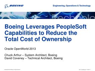 Boeing Leverages PeopleSoft Capabilities to Reduce the Total Cost of Ownership