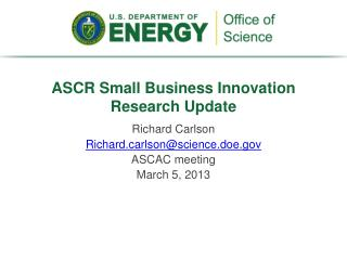 ASCR Small Business Innovation Research Update