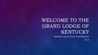 Welcome to the Grand Lodge of Kentucky