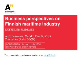 Business perspectives on Finnish maritime industry