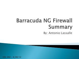 Barracuda NG Firewall Summary