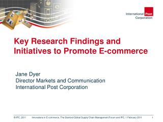 Key Research Findings and Initiatives to Promote E-commerce
