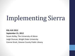 Implementing Sierra