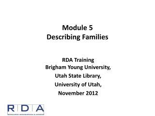 Module  5 Describing Families