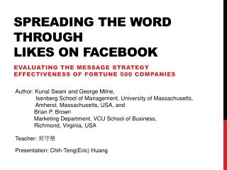 Spreading the word through likes on Facebook